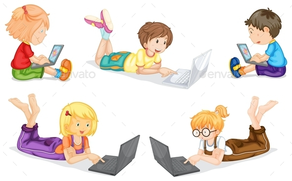 Kids with Laptop - People Characters