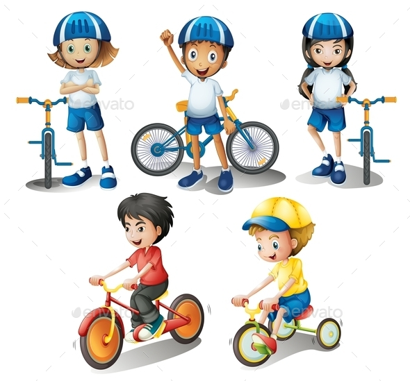 Kids with their Bikes - People Characters
