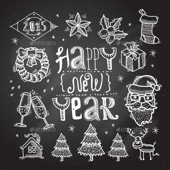 Christmas Icons Set Chalkboard - Christmas Seasons/Holidays