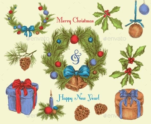 Christmas decoration sketch colored - Christmas Seasons/Holidays