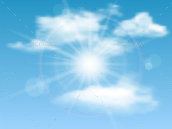 Sky, Sun, Clouds Background - Nature Conceptual