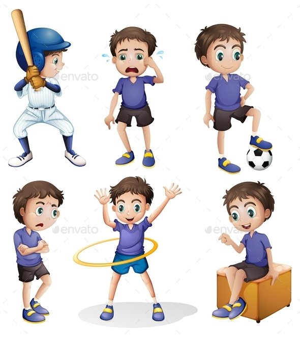 Different Activities of a Young Boy - People Characters