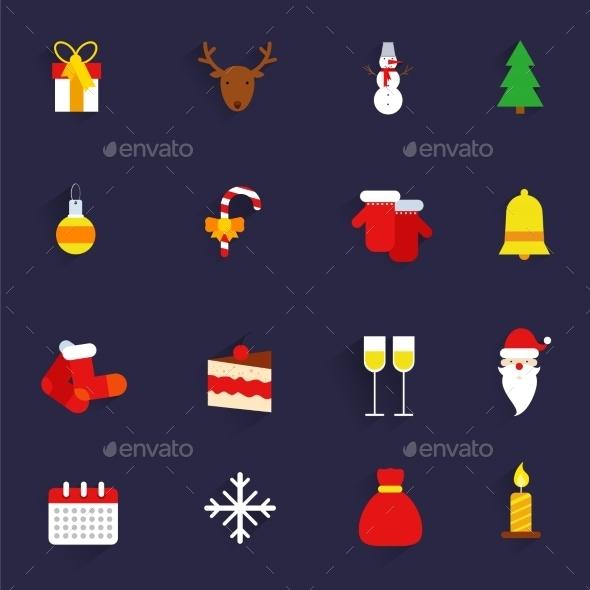 Christmas icons set flat - Christmas Seasons/Holidays