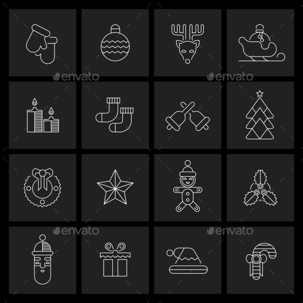 Christmas icons set outline - New Year Seasons/Holidays