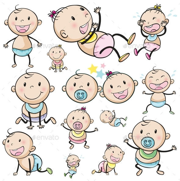 A Group of Babies - People Characters