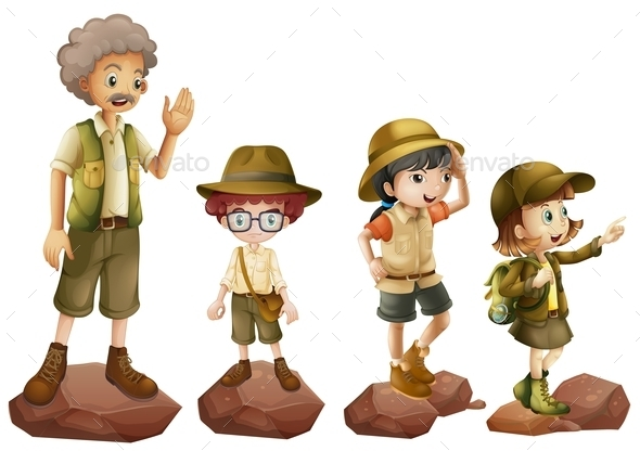 A Family of Explorers - People Characters