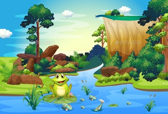 A Frog Playing at the River near the Cliff - Animals Characters