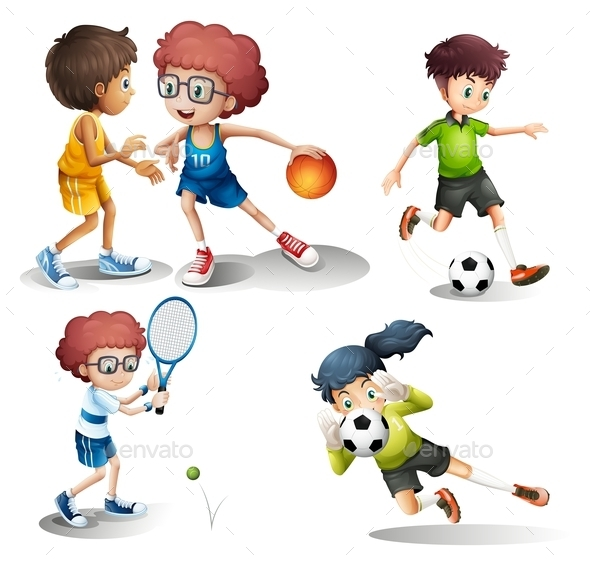 Kids Engaging in different Sports - People Characters