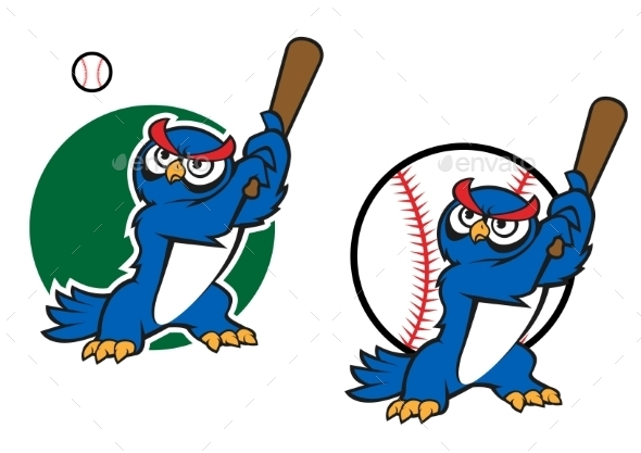 Cartoon Wise Old Owl Playing Baseball - Animals Characters