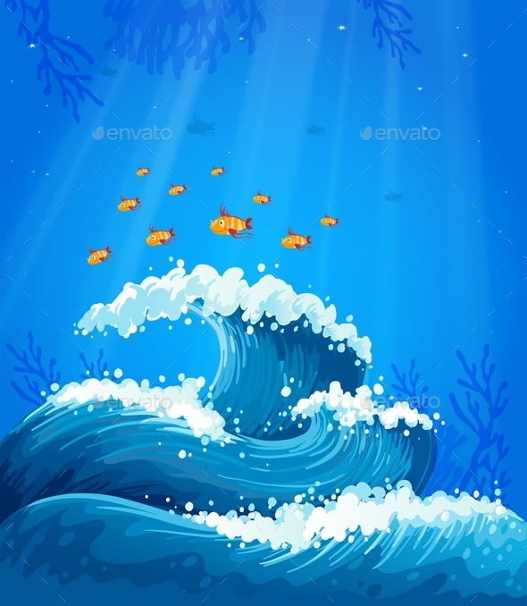 A Wave and Fishes under the Sea  - Animals Characters