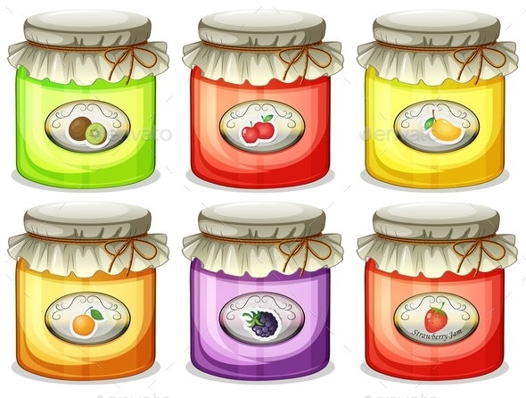 Six different Jams  - Food Objects