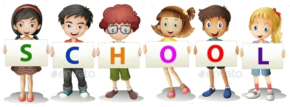 Kids Forming the School Letters - People Characters