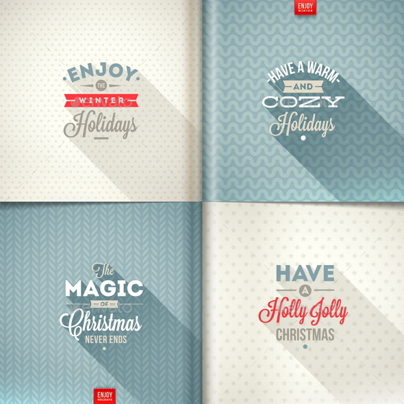 Set of Christmas Type Design with Long Shadow  - Christmas Seasons/Holidays