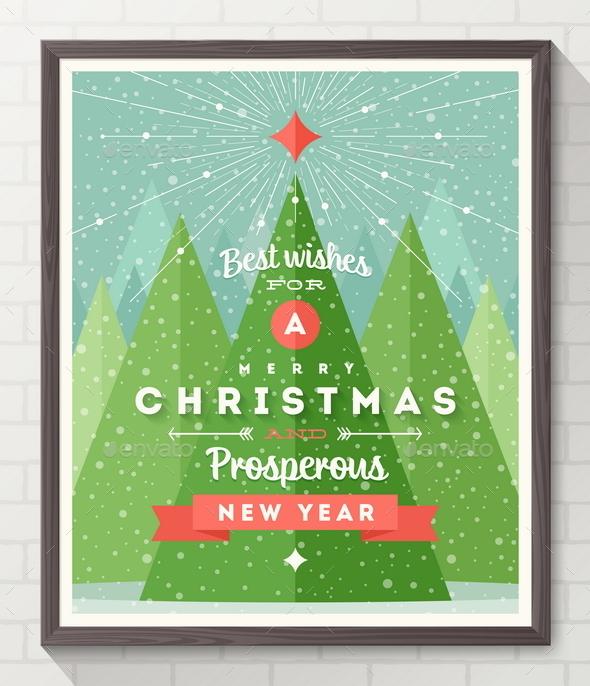 Frame with Flat and Type Design Christmas Poster - Christmas Seasons/Holidays