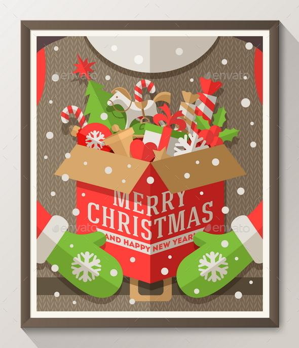 Santa Claus Holding a Box with Christmas Gifts - Christmas Seasons/Holidays