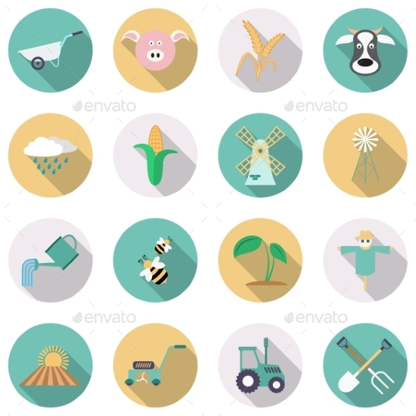 Agriculture and Farming Icons - Web Elements Vectors