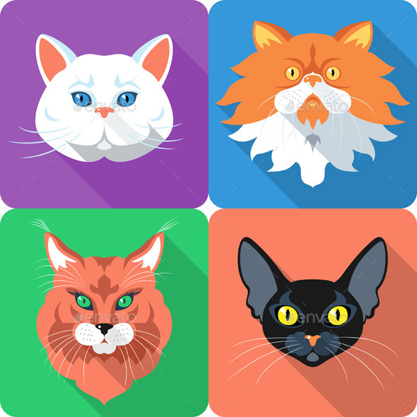 Cat Icon Set - Animals Characters