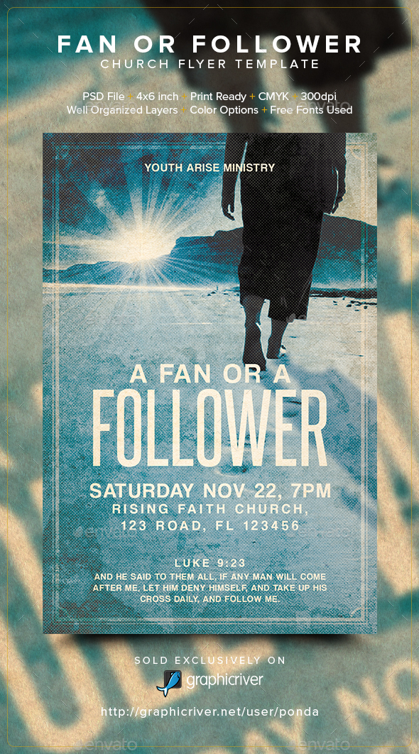 Fan or Follower Church Flyer Template - Church Flyers