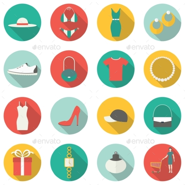 Shopping Flat Icons. - Commercial / Shopping Conceptual