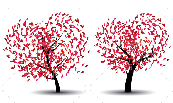 Tree with Abstract Red Leaves - Nature Conceptual