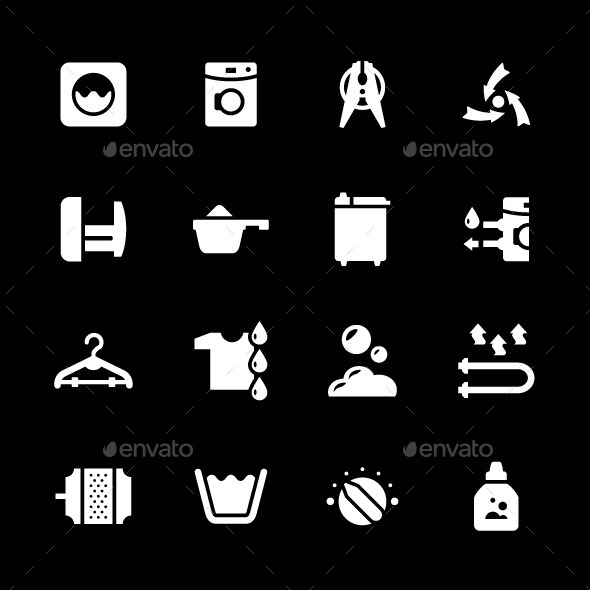 Set Icons of Laundry - Man-made objects Objects