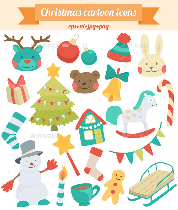 Christmas Cartoon Icons - Christmas Seasons/Holidays