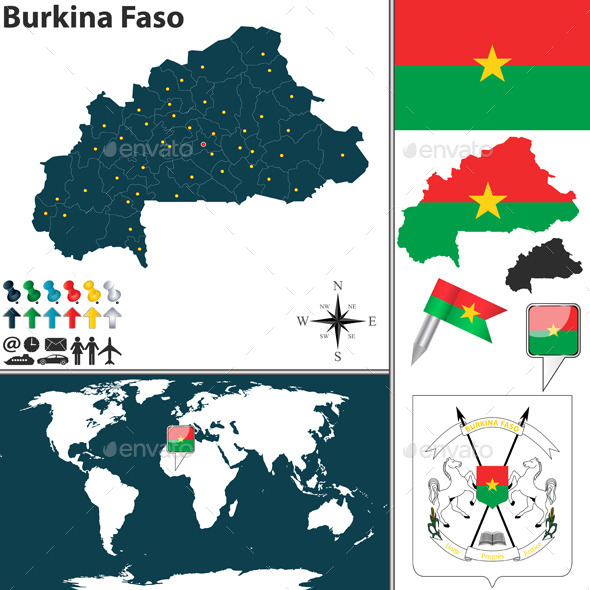 Map of Burkina Faso - Travel Conceptual