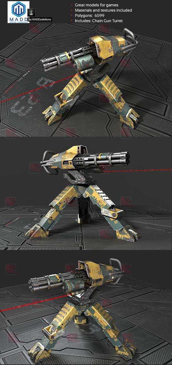Chain Gun Turret, Machinegun Turret - 3DOcean Item for Sale
