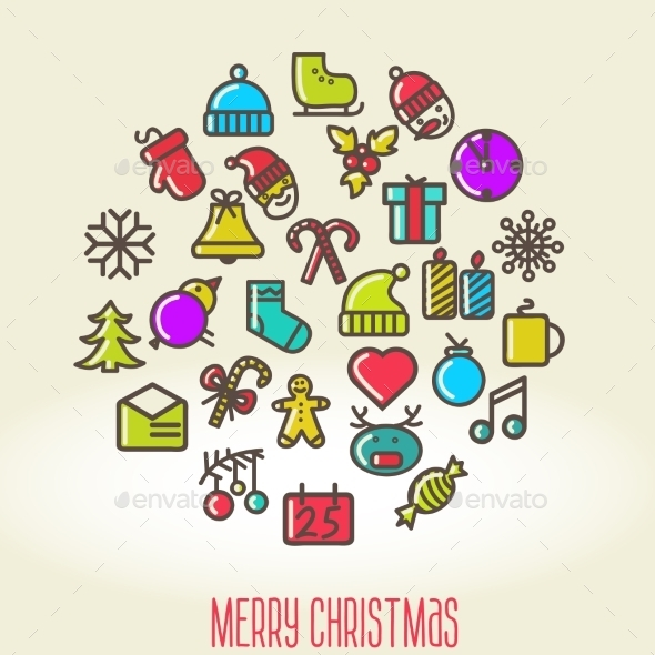 Christmas Background with Set of Icons - Christmas Seasons/Holidays