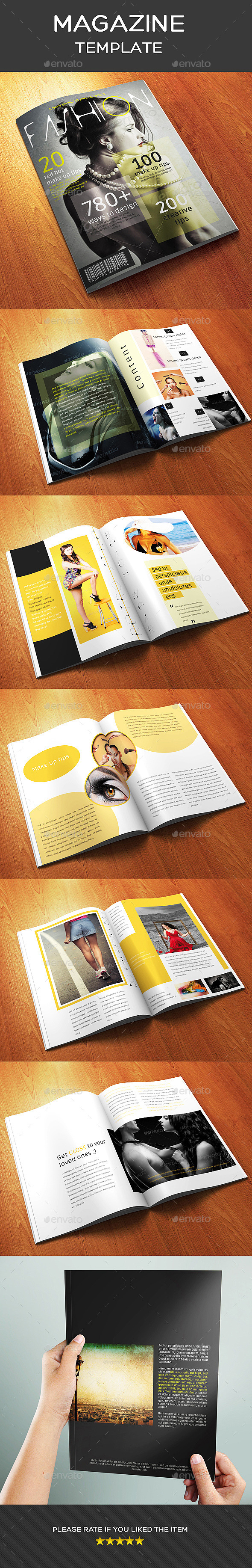 12 Pages A4 Size Fashion Magazine Template - Magazines Print Templates