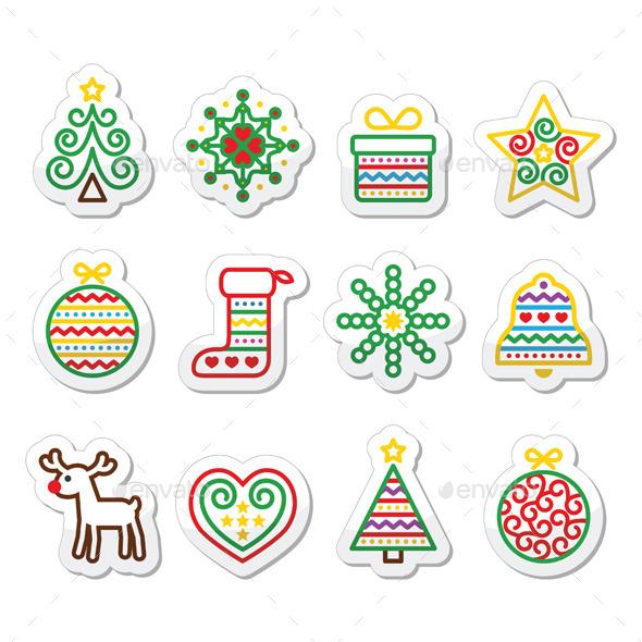 Christmas Icons with Stroke - Xmas Tree, Present - Christmas Seasons/Holidays