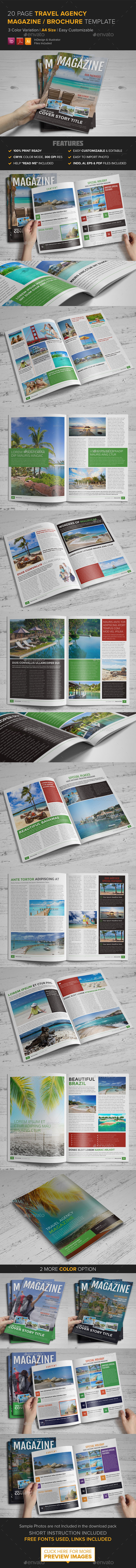 Travel Agency Magazine Brochure Template - InDesig - Magazines Print Templates