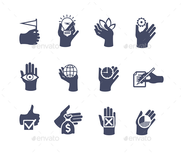 Hands Icon Set for Website or Application - Miscellaneous Icons