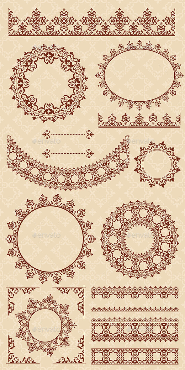 Brown Ornamental Elements - Vector Set - Borders Decorative