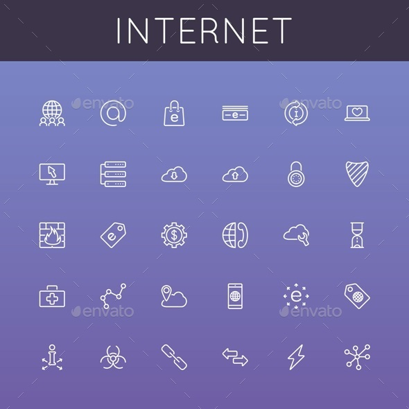 Vector Internet Line Icons - Web Icons