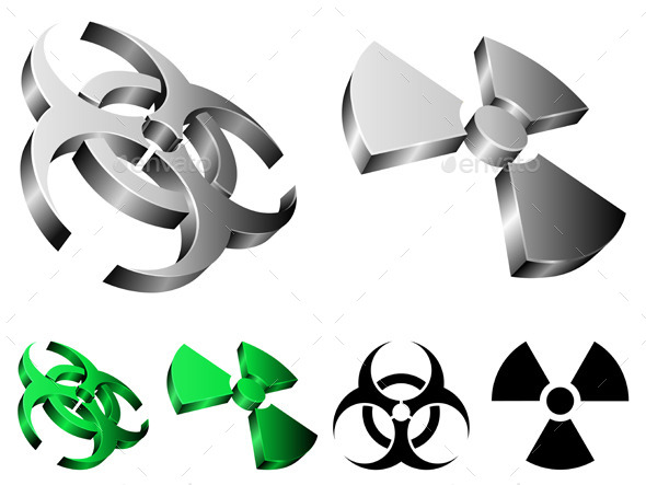 Biohazard and Radiation Signs - Technology Conceptual