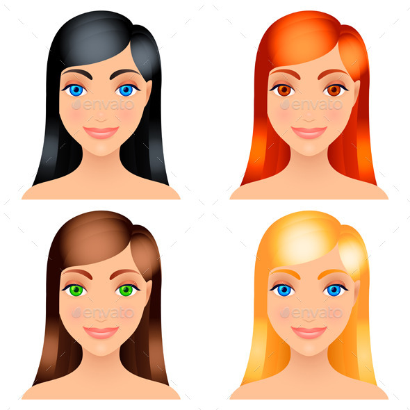 Women Hair Colors - People Characters