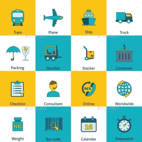 Logistic icons set flat - Web Technology