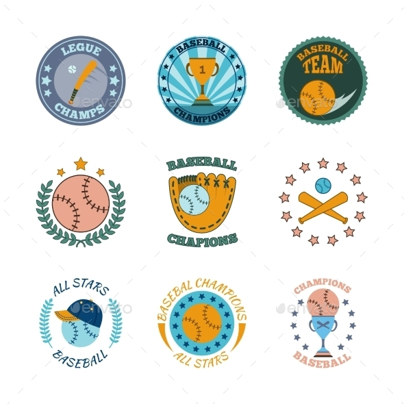 Baseball labels icons color set - Sports/Activity Conceptual