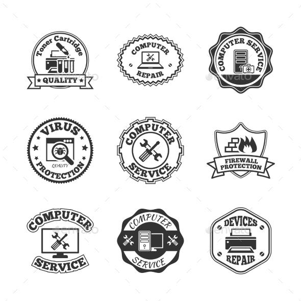 Computer repair labels icons set - Web Elements Vectors