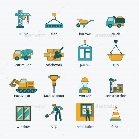 Construction icons flat line set - Web Technology