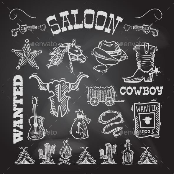 Cowboy chalkboard set - Miscellaneous Vectors