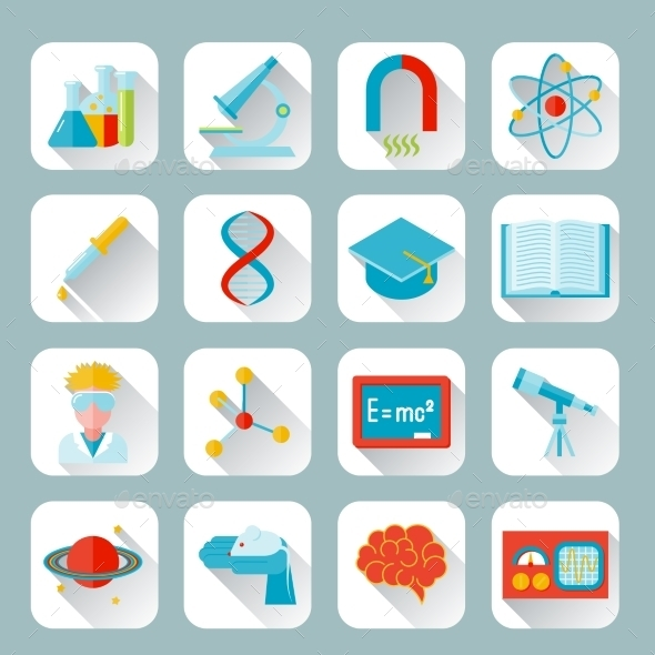 Science and research icon flat - Web Elements Vectors