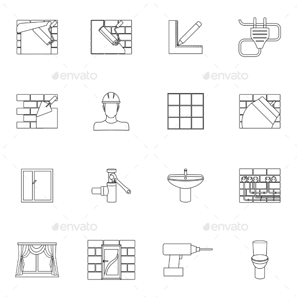 Home repair icons outline - Web Technology