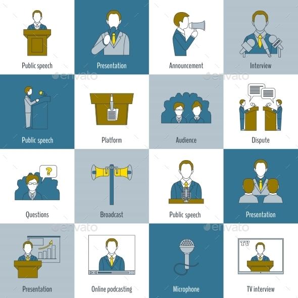 Public speaking icons flat line - Web Elements Vectors
