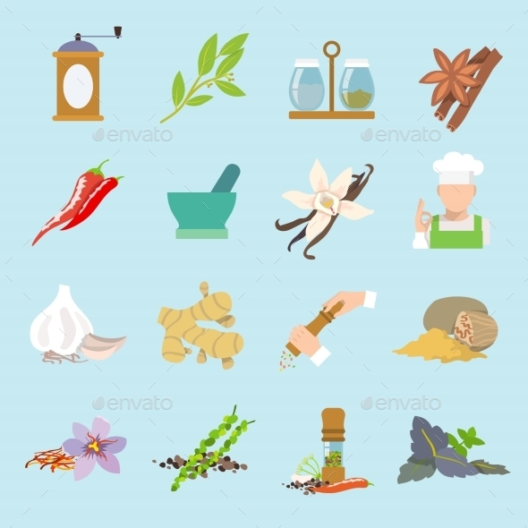 Spices icons flat - Food Objects