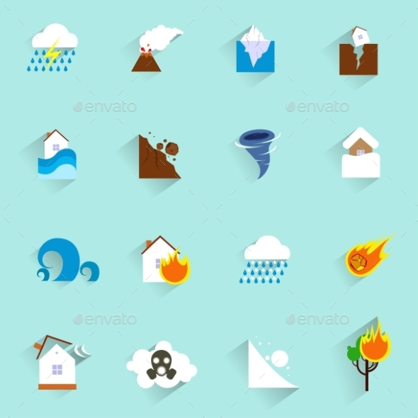 Natural disaster icons flat - Web Technology