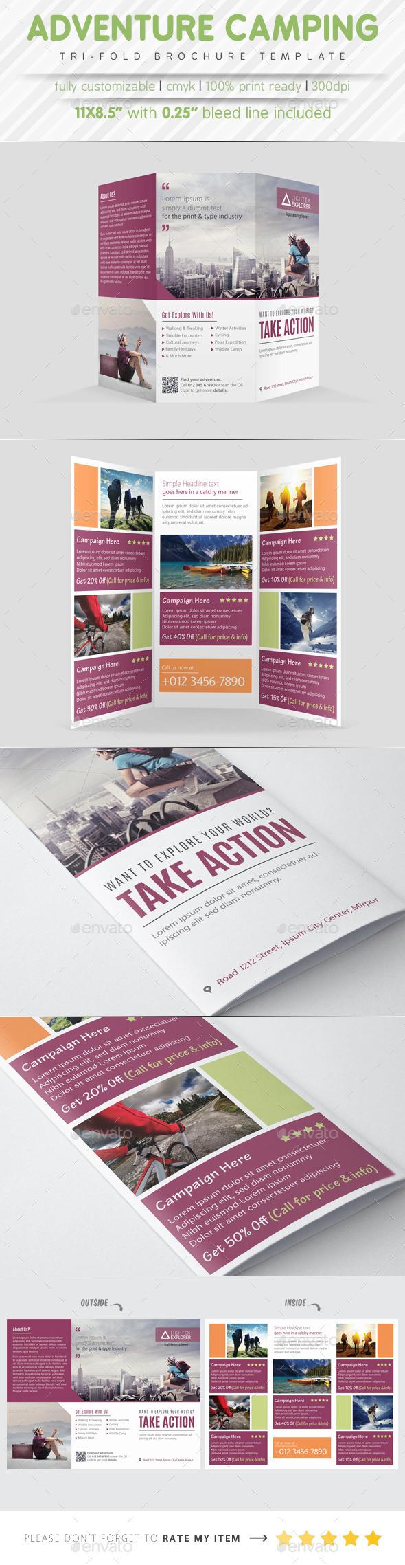Adventure Camping Tri Fold Brochure - Brochures Print Templates