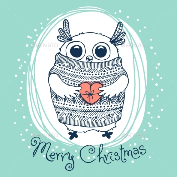 Hand Drawn Illustration with Owl - Christmas Seasons/Holidays