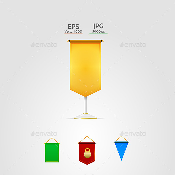 Vector Illustration of Colored Pennants - Decorative Vectors